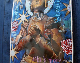 Joan of Arc print, Jeanne d'Arc Print, Wall Art, Decor, Interior, Stars, Roses, Saint, holy,