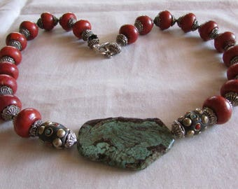 Sponge Coral and Turquoise Slab Necklace