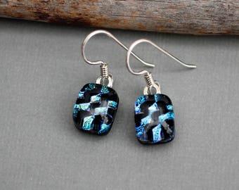 Unique Earrings - Sterling Silver Dangle Earrings - Dichroic Glass Earrings - Drop Earrings - Fused Glass Earrings
