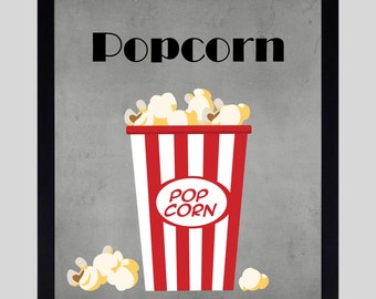 Popcorn Home Theater Wall Decorations - Movie Prints - Movie Wall Art - Theater Prints - Home Theater Prints - Movie Art - Movie Poster