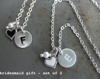 Enamel Initial charm necklace with heart and tiny pearl - Bridesmaid gift set of 2