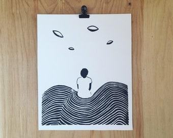 Screenprint // Black & White // I want to Believe