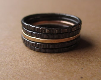Tiny Stoneless Stackers - Set of 4 Sterling Silver Stacking Rings and 1 Gold-Fill Stacker