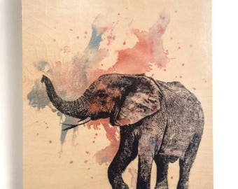 Wood Wall Art Elephant Painting Nursery Decor Animal Art on Wood Elephant Nursery Art Decor Great Elephant Nursery Painting on Wood Wall Art
