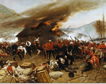 Stretched Canvas - Defence of Rorke's Drift Painting by Alphonse Neuville - Art Reproduction Giclee