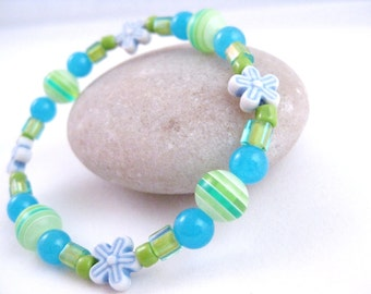 Girls Bracelet with Flowers Blue and Green, Large Childrens Stretch Bracelet, GBL 108