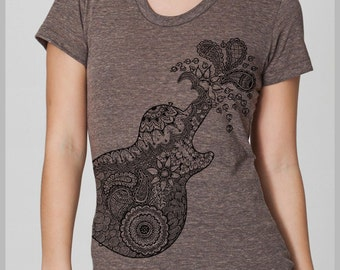 Guitar Women's T Shirt American Apparel tee shirt S, M, L, XL 8 COLORS