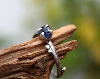 Sapphire raw gemstone twig ring-sterling silver handmade-natural rough uncut sapphire-September Birthstone ring-made to order.