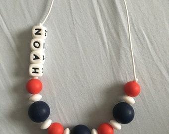 Personalised Teethin necklace navy - ANY NAME AVAILABLE see other styles