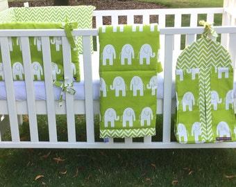 Custom Made Chartreuse Elephant Bedding Set