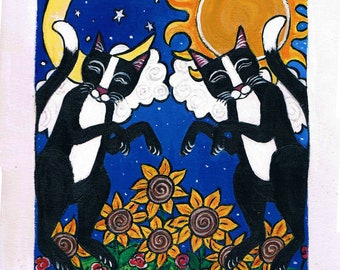Moon and Sun Tuxedo Cats, Original Acrylic Painting
