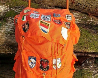 Vintage backpack external frame with patches