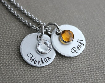 Grandma Necklace, Children's names Hand stamped aluminum discs, Swarovski crystal birthstones and stainless steel rolo chain 24 inch Name