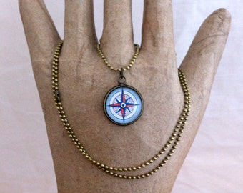 Compass Rose Pendant Nautical Necklace World Map Jewelry Travel Gift Compass Necklace for Her