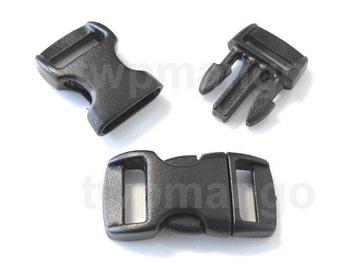 """10 3/8"""" Contoured Side Release Buckles Black Webbing Straps Paracord Bracelet H78-10"""