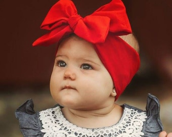 Red Bow Headwrap, red bow headband, red bow, big red bow, big red headband, red headwrap, big headwrap
