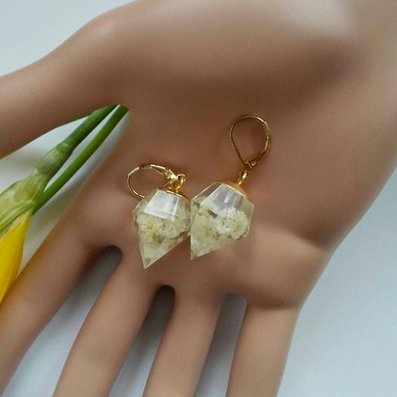 Geometric earrings gold Filled dangle earrings 14k crystal point Statement earrings earrings Crystal white resin jewellery Mom for birthday