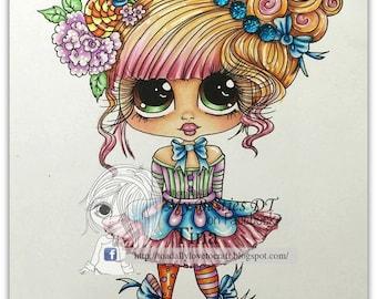 INSTANT DOWNLOAD  Digital Digi Stamps Big Eye Big Head Dolls img120 Bestie By Sherri Baldy