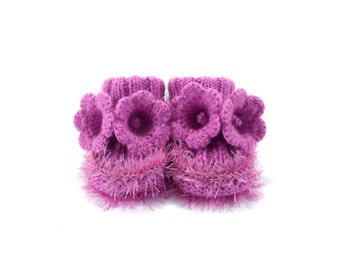Hand Knitted Baby Booties with Crochet Bell Flowers - Purple, 9 - 12 months