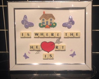 Home is where the heart is scrabble art.