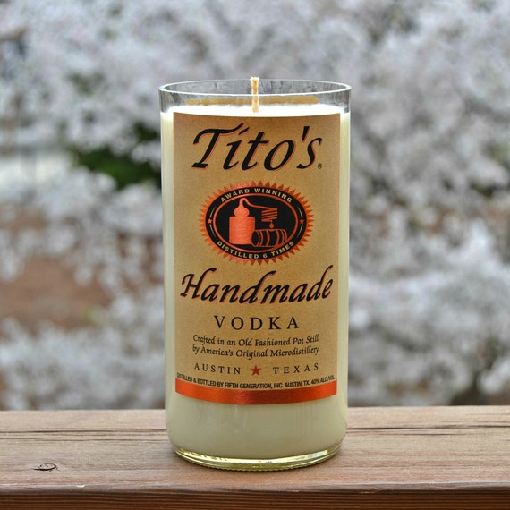 Upcycled Tito's Vodka Bottle Candle made with soy wax