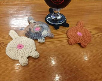 Set of 4 cat butt coasters