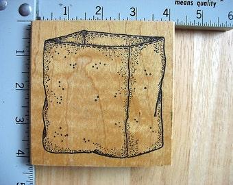 Azadi Earles  LG Empty Brown Bag DESTASH Rubberstamp, Used Rubber Stamp, grocery bag stamp