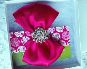 Hair Bow, Fuchsia Satin Hair Bow with Rhinestone Center, Fuchsia Flower Girl Hair Bow, Pageant hair bow, Christmas Hair Bows