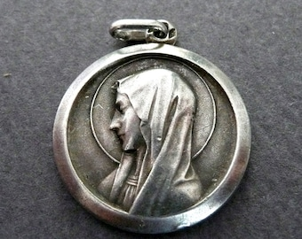 Vintage French Silver Our Lady of Lourdes Medal, Virgin Mary Medal