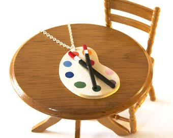 Artist Palette Necklace - Paint Palette Jewellery - Gift for Artist - Painter Necklace