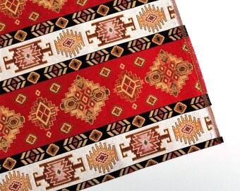 Ethnic Tribal Style Upholstery Fabric, Pillow Fabric, Aztec Navajo Fabric, Geometric Design Kilim Fabric, Red-White-Yellow, Ycp-019
