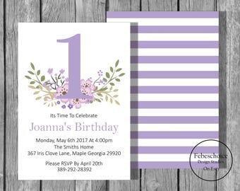 Floral First Birthday Invitations / 1st Birthday Girl Invitations / Printable Birthday Invitation / Shabby Chic Floral First Birthday Invite