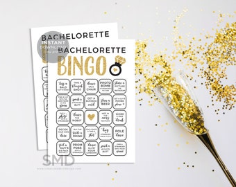 Bachelorette bingo, bachelorette dares, bachelorette party game, gold, glitter gold, scavenger hunt, truth or dare, bingo, instant download