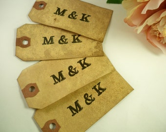 100 Vintage Wedding Tag. Anthropologie. Bohemian. Escort Name Place Card. Travel Theme Wedding Luggage Tag. Vintage Hang Tag. Stained. DARK.