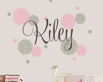 Flower Name Decal - Polka Dot Wall Decal - Name Decal Set for Girls