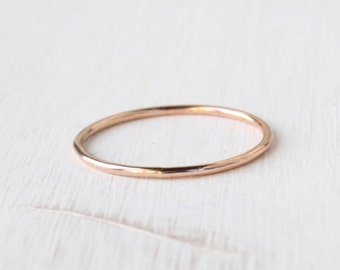 Solid 14k rose gold ring / round thin stackable gold ring / skinny pink gold ring / pink gold ring / stacking gold ring handmade