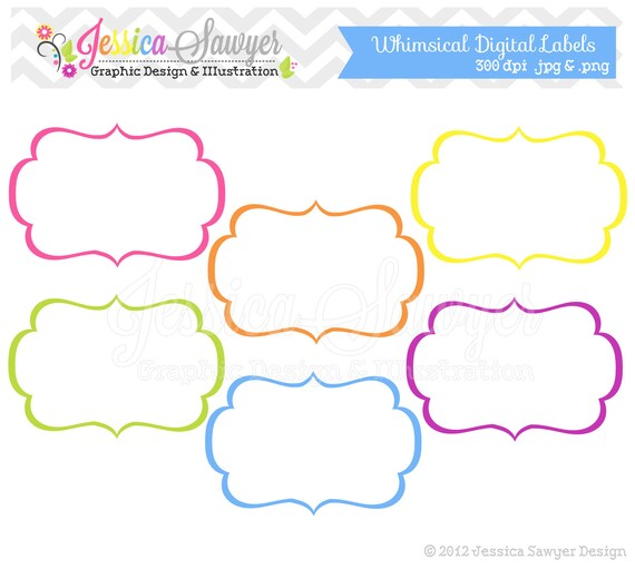 Frame Sticker Label Tags Card Template Blanks For: Items Similar To INSTANT DOWNLOAD, Whimsical Labels