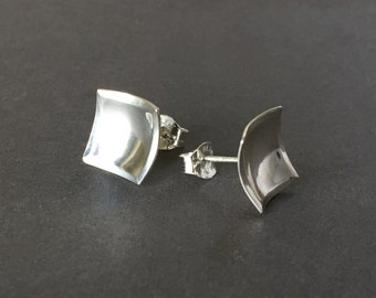 Medium Square Post Earrings - Medium Sterling Silver Post Earrigs