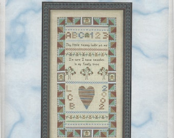 """Clearance - """"Tiny Teddy"""" Counted Cross Stitch Chart by Cross My Heart"""