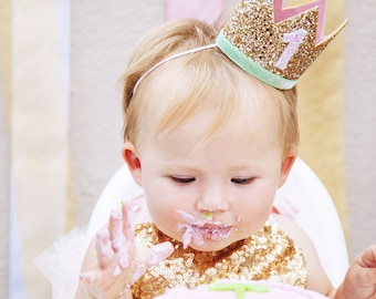 First Birthday Crown | 1st Birthday Girl Outfit for Cake Smash | Baby Girl First Birthday Outfit | 1st Birthday Hat | Gold Baby Pink Mint