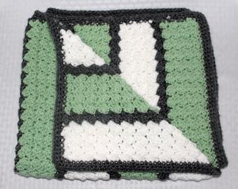 Crochet Baby Blanket, Sage Green, White, Gray