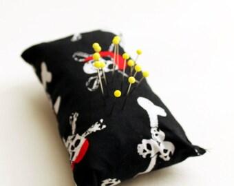 Eco Friendly Handmade Pincushion - Pirate Skulls - Kezbirdie