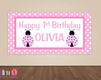 HAPPY BIRTHDAY Banner, Pink Ladybug Birthday Decorations, Ladybug Birthday Backdrop, Party Banner, Girls Birthday Party, Vinyl Banner, Pink