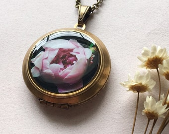 Peony in Bloom Locket - Blush Blossom Necklace - Night Garden Fine Art Photography Pendant