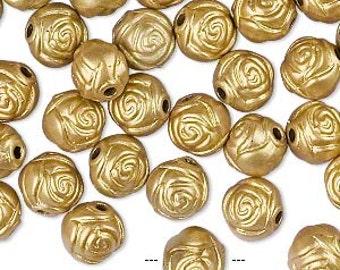 100pcs Acrylic Beads 8mm Flower Rose Metallic Gold