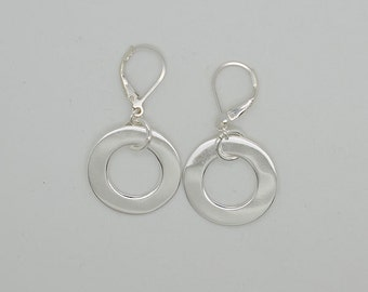 Sterling Silver Lever Back Earrings (Maching Necklace)