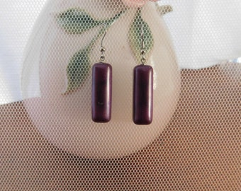 rectangle purple earrings