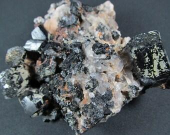 Smoky Quartz and Schorl  Erongo Mountains, Namibia - Small Cabinet Mineral Specimen