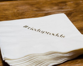 50 Personalized Napkins Personalized Napkins Wedding Napkins Hashtag Hash Tag Personalized Beverage Luncheon Dinner Guest Towels Avail!