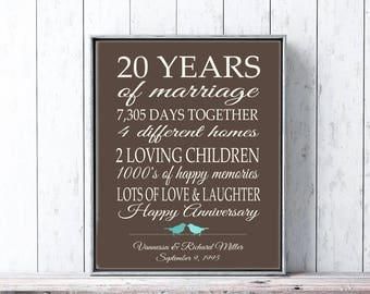 20 Year Anniversary Gift for Parents 20th Anniversary Present Personalized Gift with Important Milestones Brown Turquoise or Custom